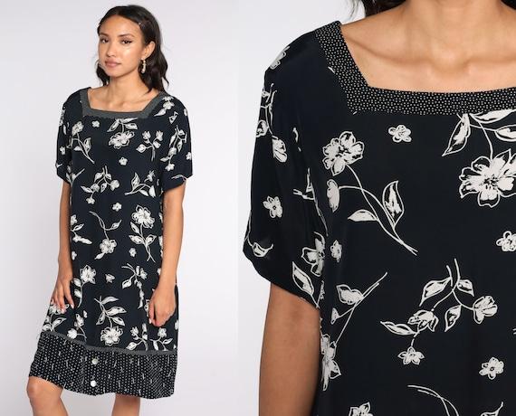 Black Floral Dress Rayon Grunge Mini 90s Flower Print Shift Dress 1990s Short Sleeve Vintage Minidress Shift Retro Large xl l