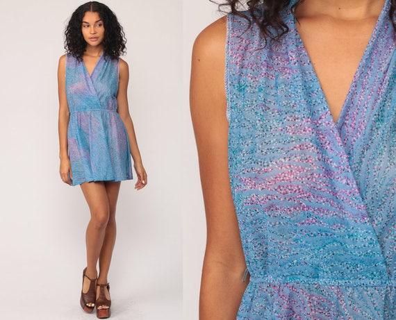 1970s Dress 70s Boho Mini Blue Deep V Neck WRAP High Waist VINTAGE Wavy Stripe Sleeveless Bohemian Summer Pink Grecian Party Medium Large