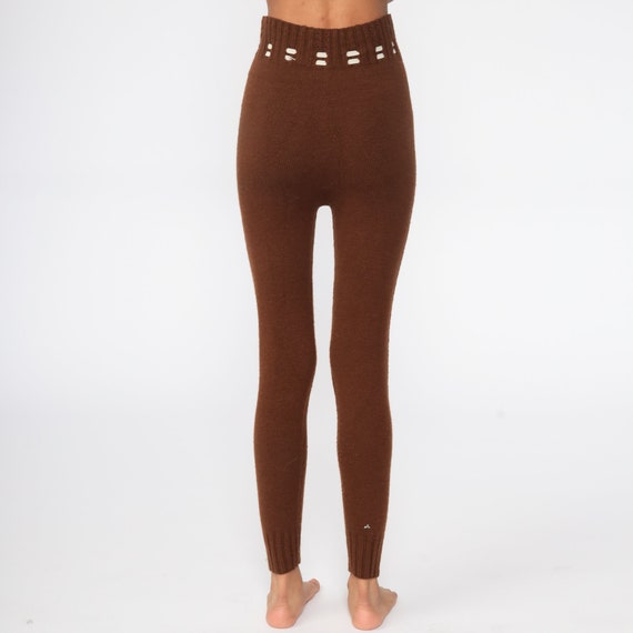 70s Knit Pants Brown Knit Leggings High Waisted P… - image 8
