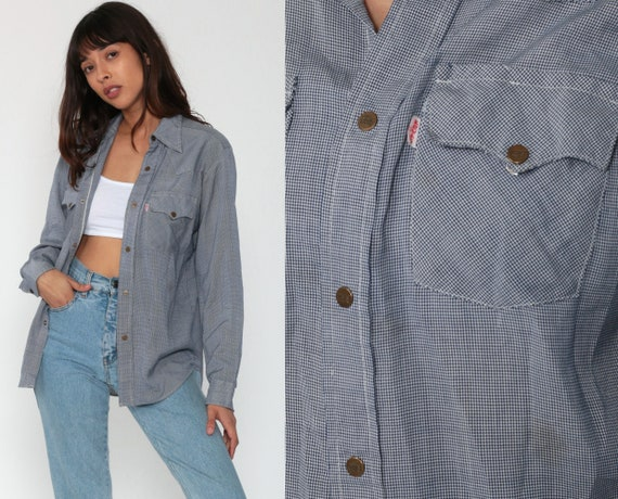 Levis Shirt Western Shirt 70s Plaid Shirt SNAP Button Up Levi 1970s Vintage Long Sleeve Checkered White Blue Small xs