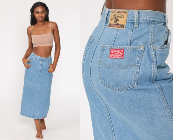 Denim Pencil Skirt No Excuses Jean Skirt Midi Back SLIT Pencil Skirt 90s HOT KISS High Waist Wiggle Retro Vintage Femme Fatale Small S