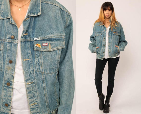 Guess Jean Jacket 80s Denim Jacket Vintage Oversized Trucker Etsy