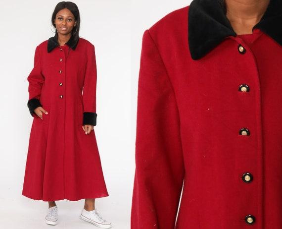 Red Wool Coat 60s Jacket Maxi Coat Long Princess Coat Winter Coat Button Up Winter Jacket 1960s Large L