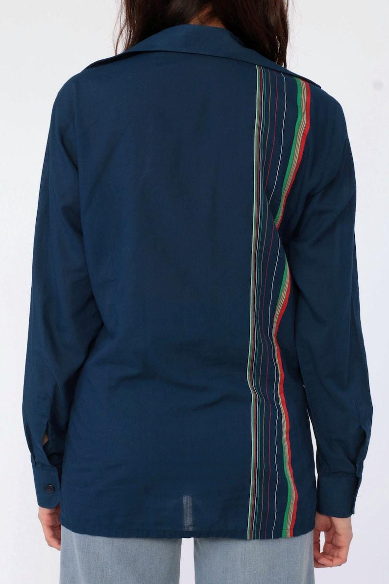 70s Disco Shirt RAINBOW STRIPED Long Sleeve Shirt Dark Navy Blue Button Up Blouse 1970s Button Down Shirt Vintage Collared Small Medium