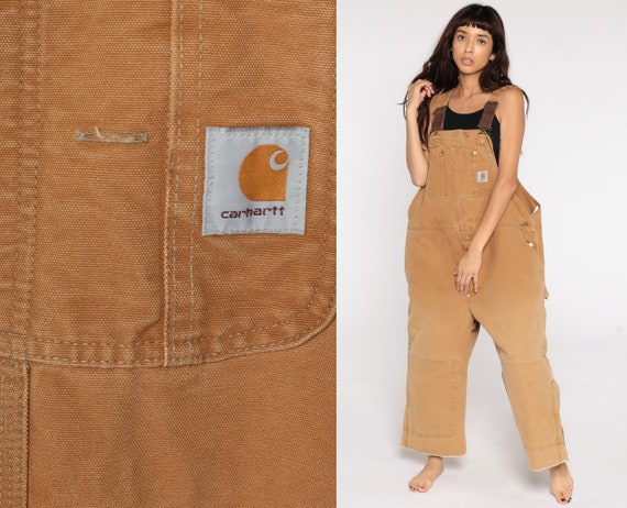Insulated Carhartt Overalls Workwear Coveralls Pants QUILTED Dungarees Tan Utilitarian Pants Long Work Wear Bib Vintage Extra Large xl 2xl