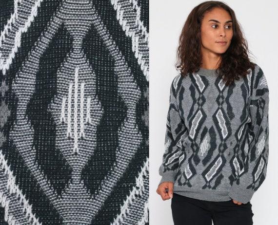 Grey Geometric Sweater 80s Knit Jumper 90s Statement Vintage Pullover Retro White Acrylic Crewneck Medium