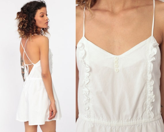White Romper Playsuit Ruffle 80s Summer One Piece Jumpsuit Shorts Criss Cross Cotton Sleeveless 1980s Vintage Retro Backless Small Medium