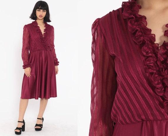Burgundy Ruffle Dress 70s Midi Boho Wrap Secretary High Waisted Deep V Neck 1970s Vintage Long Puff Sleeve Bohemian Medium