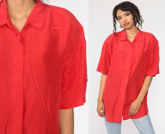 Red Silk Shirt Button Up Shirt 90s Short Sleeve Bl