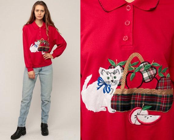 Cat Sweatshirt Kitten Sweater 80s Animal APPLE Fruit Kawaii COLLARED Sweater Vintage 90s Graphic Pullover Jumper Retro Red Medium