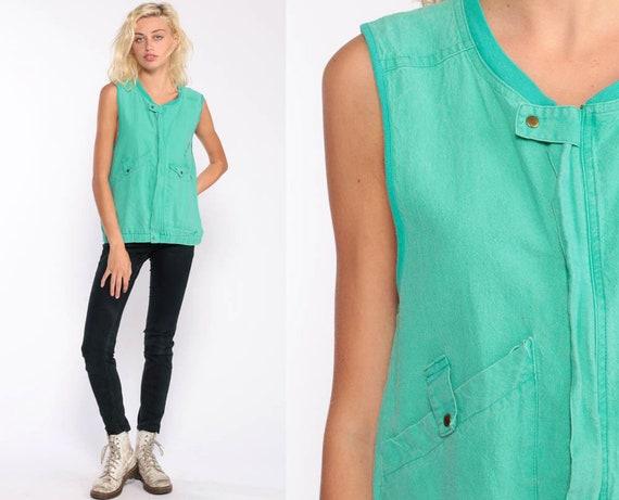 Green Vest 80s Sleeveless Jacket Green Cotton Vest Top Slouch Hipster Vest Vintage Slouchy Zip Up Shirt Pockets 1980s Vest Small Medium