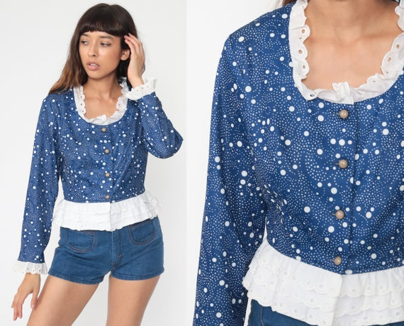 Polka Dot Shirt 70s Eyelet Lace Top Button Up Blouse Boho Blue White 1970s Vintage Long Sleeve Ruffle Bohemian Hippie Medium