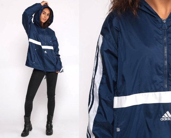 Adidas Windbreaker Jacket HOODED Pullover 90s Streetwear Navy Blue Half Zip Hood 1990s Sportswear Vintage Athletic Medium Large
