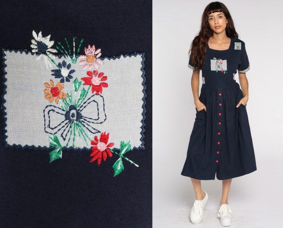 Navy Floral Dress Embroidered Midi Grunge Button Up Dress 80s Granny 90s Bohemian Sheath 1990s Short Sleeve Vintage Cotton Medium
