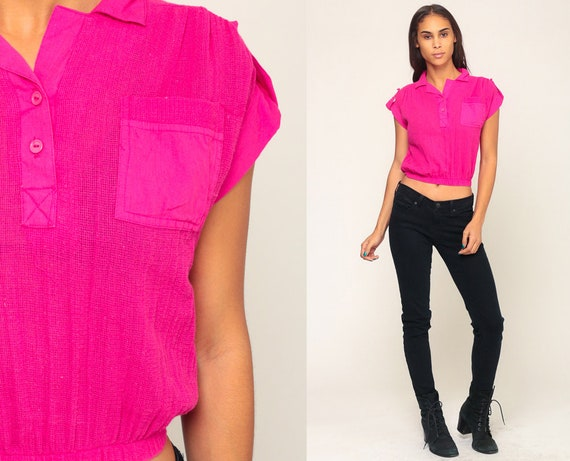 Neon Pink Shirt SHEER Mesh Shirt Sheer Tshirt 80s Crop Top Hot Pink Shirt Vintage Blouse Cap Sleeve Top Hipster 1980s Retro Small Medium