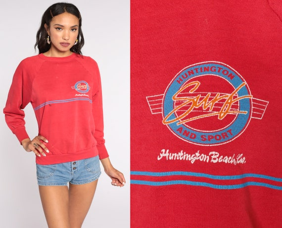Huntington Beach Sweatshirt Surf Sweatshirt Red Raglan California Sweatshirt 80s Pullover 1980s Graphic Slouch Small Medium