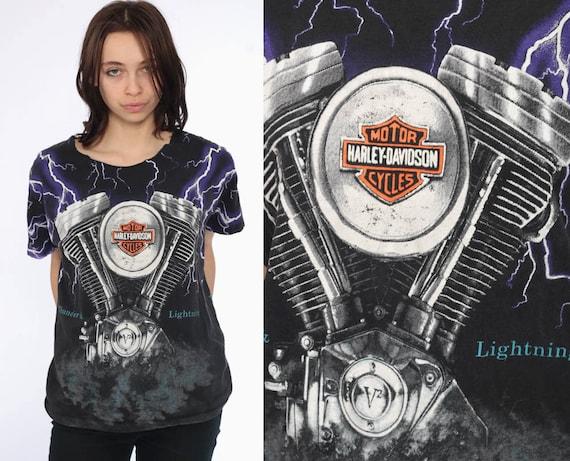 90s Harley Davidson TShirt -- 1990s Lighting Motorcycle Shirt Hawaii Thunder Shirt 90s Biker Tee Black T Shirt 1990s Rocker Medium