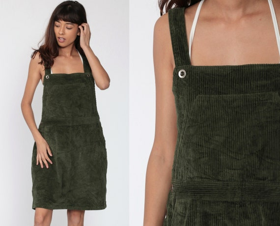 Corduroy Overall Dress 90s Mini Dress Jumper Bib Overall Green Pinafore 1990s Grunge Pocket Vintage Minidress Sleeveless Smock Large xl