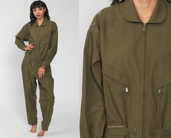 Flight Suit Military Jumpsuit Army Coveralls Zip Up Grunge Pantsuit Cotton Vintage Long Sleeve Romper Olive Green Small Medium