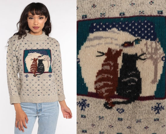 80s Cat Sweater Winter Snow Print Sweater Slouchy Boho Kitsch Hipster 1980s Vintage Kitten Kawaii Novelty Sweater Retro Knit Pullover Small