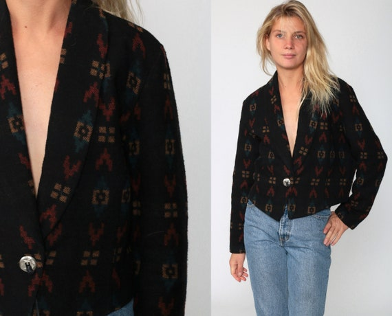 Cropped Southwestern Jacket 90s TRIBAL PRINT Black Aztec Blanket Jacket Bohemian 80s Southwest Crop Boho Vintage Large