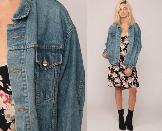 Blue Jean Jacket 90s Denim Jacket Grunge Biker Trucker Blue Denim 80s Vintage Button Up Hipster Large