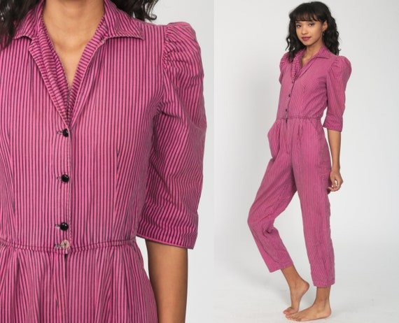 80s Tapered Jumpsuit -- Pink Striped Jumpsuit Puff Sleeve High Waisted One Piece Button Up Pantsuit Vintage Romper Pants 1980s Small