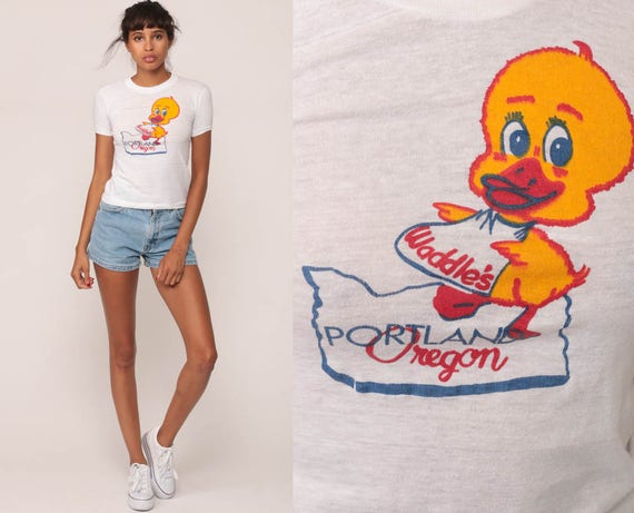 Portland Oregon Shirt Retro TShirt WADDLES Shirt Diner Restaurant 80s Vintage Duck Burnout T Shirt Graphic Paper Thin Tee 70s Extra Small xs