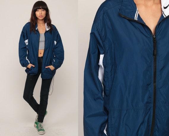 Nike Windbreaker Jacket Shell Zip Jacket Streetwear Jacket Dark Blue Vintage Retro Sports Medium Large