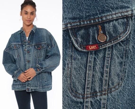 90s Jean Jacket LEE Denim Jacket Blue Acid Wash Jacket Stone Vintage 80s Biker Button Up Trucker Jacket Oversized Blue Large