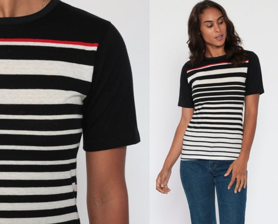 Black Striped TShirt -- 80s T Shirt White Red Paper Thin Retro Tee Vintage Minimalist Normcore 1980s Short Sleeve Extra Small xs