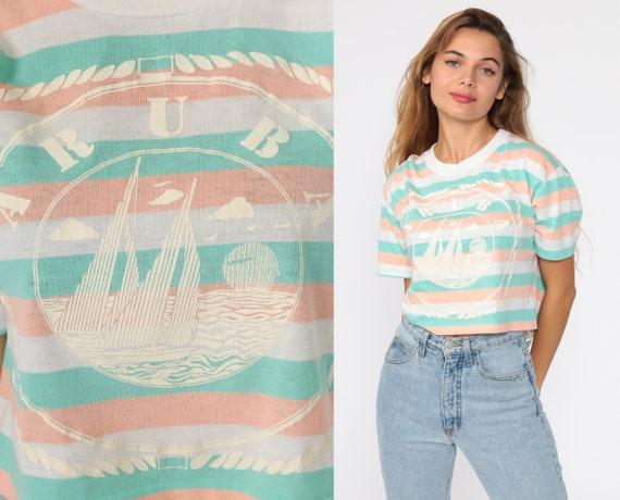 Aruba Sailboat Shirt 90s TShirt Striped Crop Top Nautical Tshirt Sailor Shirt Retro Tee Short Sleeve Vintage Cropped Shirt 1990s Small S
