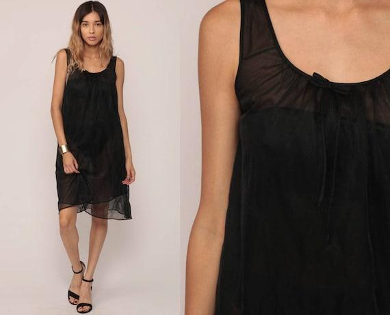 Sheer Black Nightgown Lingerie 70s Babydoll Nightie Sheer Slip Dress Nylon Boho Mini Vintage Tent Lolita Small