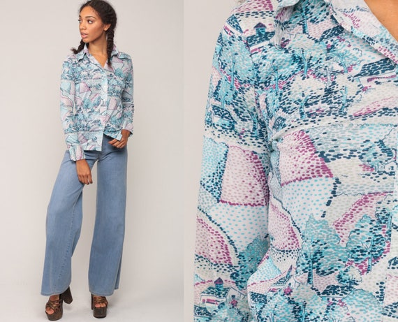 Hippie Shirt Novelty Print Blouse TREE Shirt 70s Disco Top Blue House Print 1970s Boho Vintage Hipster Long Sleeve Button Up Small Medium