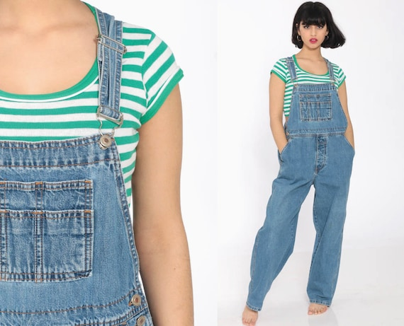 Denim Overalls Women 90s GRUNGE Suspender London Jean Pants Long Jean 1990s Tapered Leg Jeans Normcore Vintage Jumpsuit Petite Medium