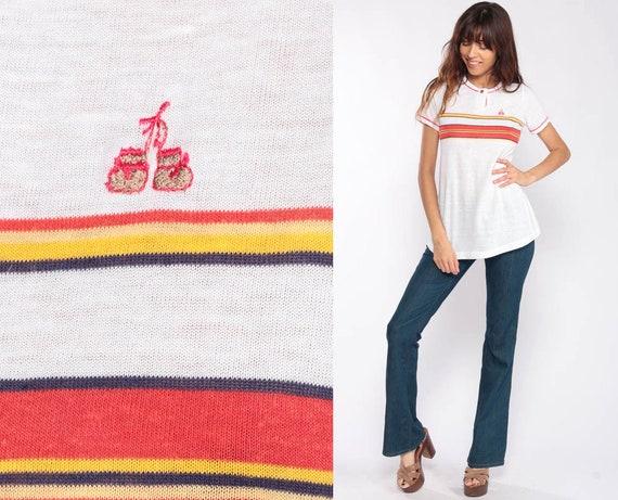 Polo Shirt BOXING GLOVES Shirt 80s Striped Shirt Button Up Shirt Retro Tshirt Collared 1980s Nerd Geek Vintage Short Sleeve Extra Small xs