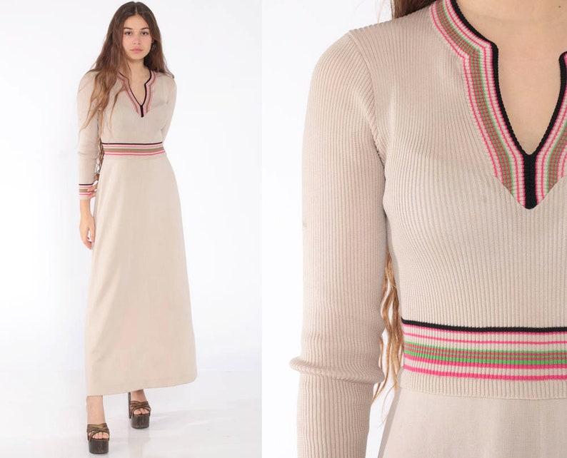 c5c87271bb9 Long Knit Dress 70s Boho Hippie Maxi Bohemian Mod Winter