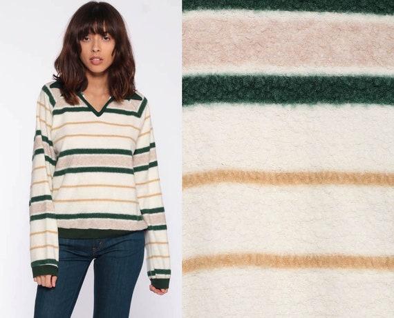 Striped Fleece Sweatshirt 80s V NECK Sweatshirt Cream Green FUZZY Sweater Long Sleeve Retro Top Boho 1980s Pullover Medium