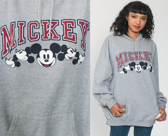 Mickey Mouse HOODIE Sweatshirt Disney Sweatshirt 90s Hooded Sweater Kawaii Grunge Shirt Grey 1990s Kangaroo Pocket Extra Large xl xxl