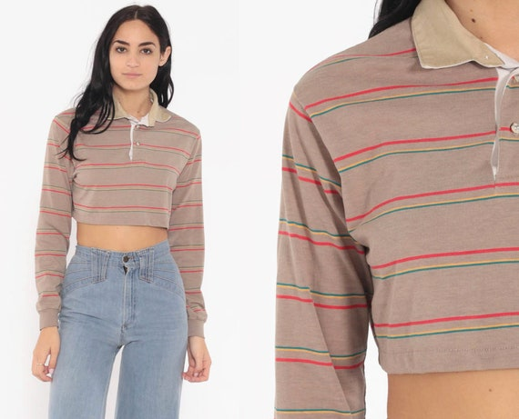 Taupe Polo Shirt Striped Long Sleeve Shirt Crop Top 80s T Shirt Grunge Top 1980s Retro Tee Vintage Red Medium