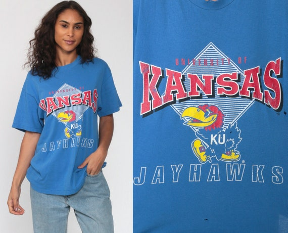 Kansas Jayhawks Shirt Basketball Tee University Shirt 80s College Shirt Lawrence Graphic Single Stitch Tee Vintage 90s Medium Large
