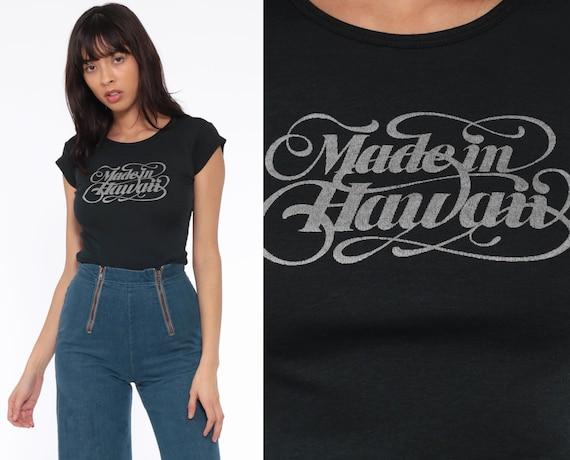 Hawaii Shirt Made In Hawaii Baby Tee Retro T Shirt 70s Graphic T Shirt Black Cap Sleeve Tshirt Vintage Girly Tee 80s Hawaiian Extra Small xs