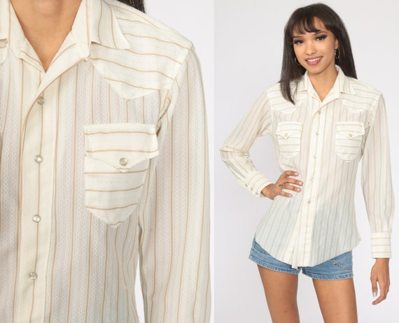 White Western Shirt Stripes 80s PEARL SNAP Striped Tan Long Sleeve 1980s Button Up Hipster Vintage Women's Small