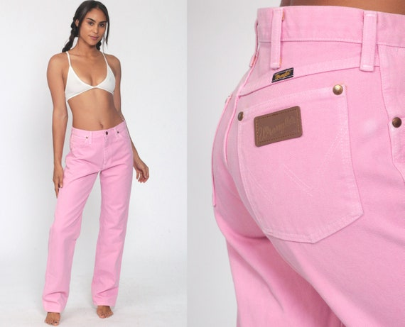 Pink Wrangler Jeans 30 Tall -- High Waisted Jeans 80s Jeans Bootcut Flared Jeans Hippie Boho Denim Pants Western Vintage Medium 30 x 33