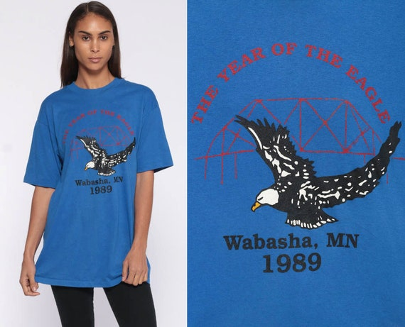 1989 MINNESOTA Shirt -- Vintage T Shirt 80s National Eagle Center Paper Thin Tee Graphic Print Royal Blue US State Hanes 1980s Small Medium