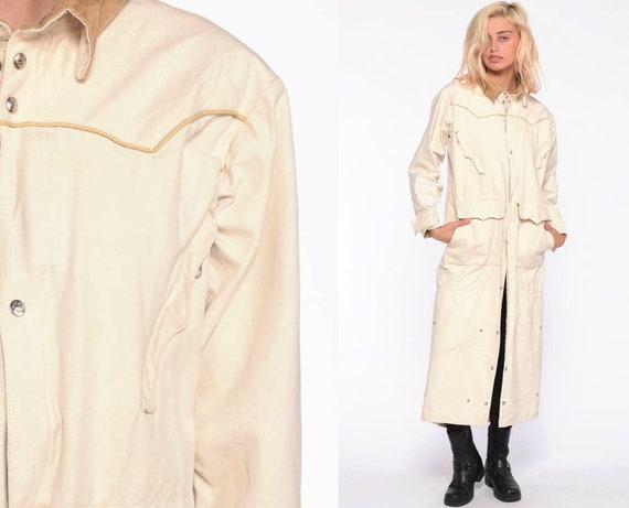 Riding Duster Coat Schaefer Outfitter Ranchwear Jacket Western Ranch Canvas Horse Riding Ranger Trench Coat Vintage Extra Small xs xxs