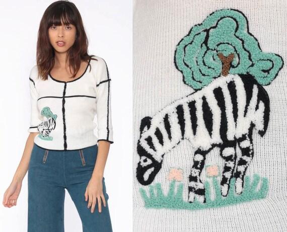 Zebra Sweater Top Kawaii Safari Animal Cardigan Sweater Shirt 90s Vintage 3/4 Sleeve 80s Button Up Novelty Print Blouse Acrylic Small