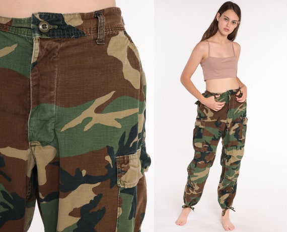 Camo Army Pants CARGO Pants 80s Military High Waisted Combat Olive Green Camouflage 1980s Vintage Punk Grunge Olive Drab Army Medium Large