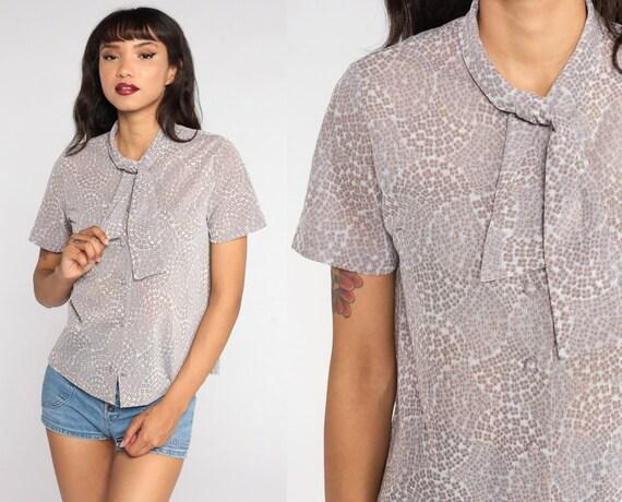 Floral Blouse Ascot Shirt 70s Neck Tie Top Vintage Secretary Button Up Boho Short Sleeve Grey Medium Large