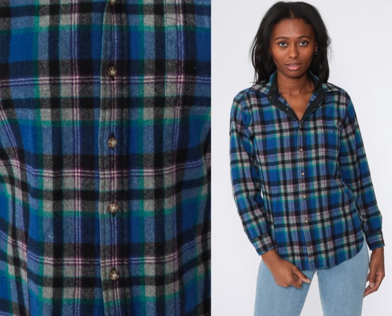 Plaid Pendleton Shirt Women's Wool Shirt 80s Flannel Blue Elbow Patch Plaid Shirt Lumberjack Button Up Long Sleeve Vintage Tartan Small